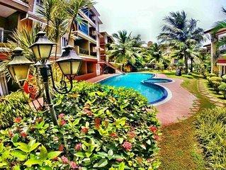 2BR Garden+ Pool+ WiFi Villa 8 Candolim Beach
