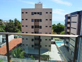Apartamento temporada vista frontal mar, 2 quartos com ar