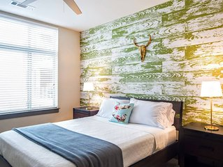 Centrally located, walk everywhere.  Hotel amenities with free parking.