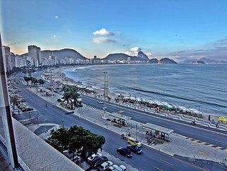 5 quartos de frente para a praia de Copacabana, Posto 6 com vista panoramica.