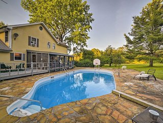 NEW! Dayton Home w/Pool, Porch & Deck on 37 Acres!