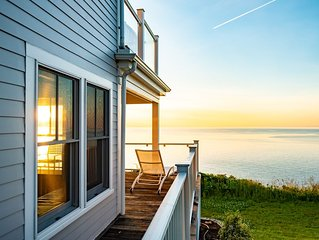Cliff side home directly on Cape Cod Bay with private beach