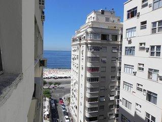 Apto Vista Mar de Copa (colado praia), Ar Cond, Wi-Fi e TV cabo