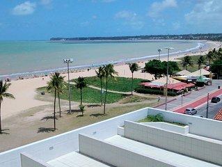 Lindissimo Flat Bem Equipado - 70  metros da Praia c/ Vista para o Mar - Tambau