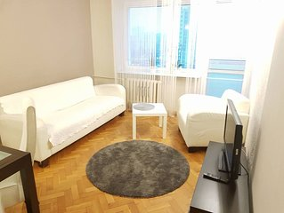 Modern & spacious 2-room apartment for 1-4 people, most central in Warsaw