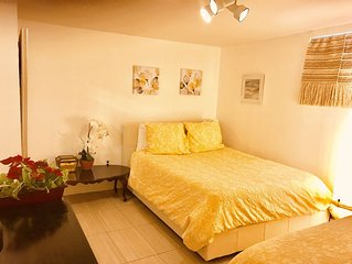 One large cozy bedroom with private  bathroom Near JFK sleeps up to 4 people.