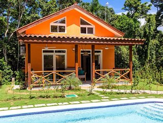 Private retreat with jungle spa, short walk from quiet beach