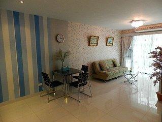 Apartment bedroom + living room.