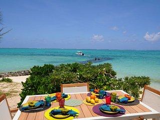 Villa pied dans l'eau, beau sable excellent bain, calme 1-8 pers., wifi gratuit