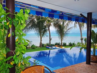 Superb Beachfront Villa with private Pool & Jacuzzi in tropical garden.