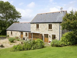 Tregadjack Barn is an enchanting, 'upside-down', detached, local Cornish stone h