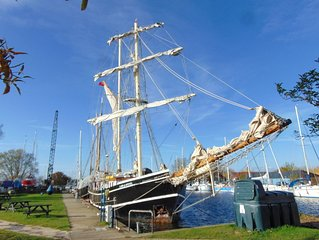Tall Ship Lady of Avenel Moored at Heybridge Basin, Essex, Sleeps 14