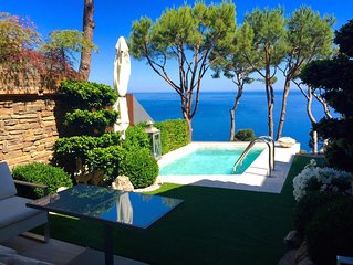 Villa with private pool, amazing sea views, peaceful and 5 mins  walk to beach