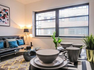 Modern design spacious studio apartment with private bedroom area