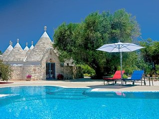 Rare Trullo Villa, drone video,Private Pool, 4.5 Acres OliveTrees, Full Air-con