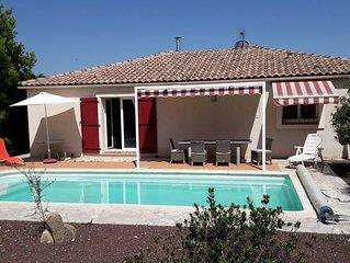 Belle maison classée 4*, 3 chambres climatisées, piscine chauffée, WIFI, calme