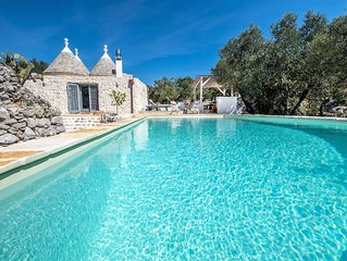 A stunning large Trullo country House with Heated pool and panoramic view