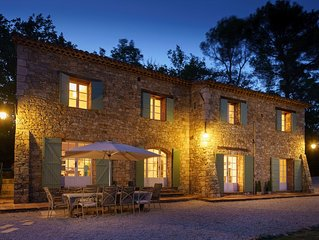 Luxury family-friendly, 5 bed stone villa with large heated pool in Provence