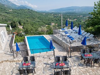 Unique apartment with roof terrace, orchard and pool, 2 km to sea
