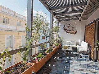 Hidesign Athens Tube Apt in Kolonaki, Design Furnishing, Garden Terrace