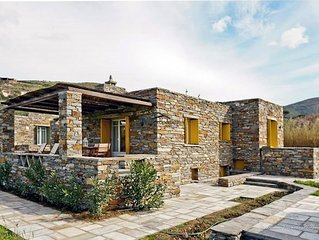 The 'Golden Sun' stone house, only 50 meters from the beach of Otzia.