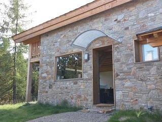 SUPER BOLQUERE chalet neuf, lumieux, ensoleillé  en verre, pierre et bois.