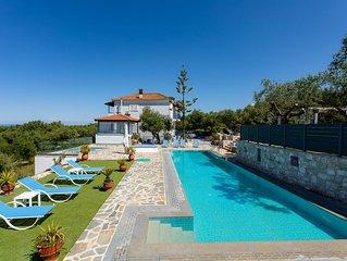 Luxury Villa -  huge Private pool - Sea View - walk to beach - sleeps 8/9