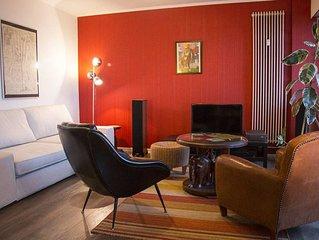 Bel appartement 85m2, 6 pers centre-ville: vue superbe, parking gratuit