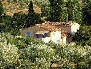 Maison avec jardin et grande terrasse attenante sur campagne (champ d'oliviers)