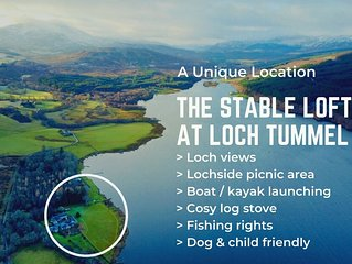 The Stable Loft is cosy, spacious holiday property on the banks of Loch Tummel