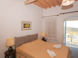 Amorgos traditional apartment with balcony view