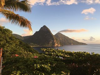 Luxury studio with breathtaking views of the pitons and sea