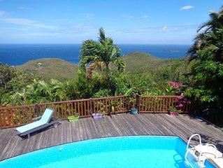 Villa Fleur de Lune piscine vue mer des Caraïbes Bouillante
