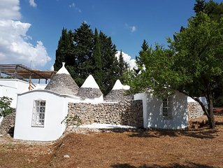 Trullo turchese Fabiola, with swimming pool, pine wood and olive trees