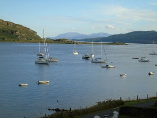 Waterside house with mooring Glorious views on Kyles of Bute sleeps 12