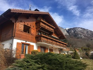 Mountain chalet with pool & stunning views, close to skiing & summer activities
