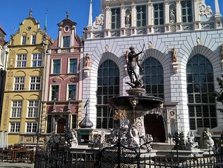 Old Town Gdańsk, Neptune Fountain,  Motława River