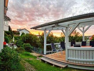140qm, Boxspringbetten, eigener Garten, Sauna, 3 Flat-TV, ruhig