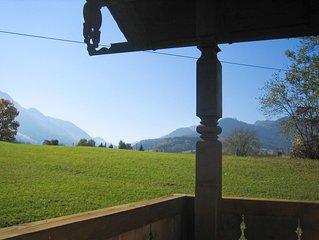 Gemütliche zentrale Ferienwohnung umgeben von Wiesen und Bergen für 1 -4 Pers.