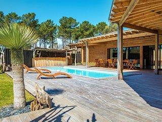 L'abricotier : Villa, bois flotté, piscine  chauffée