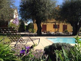 Proche Cannes, Bastide authentique au milieu d'oliviers centenaires avec piscine