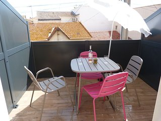 Studio n°2 avec terrasse, 4 personnes.