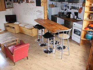maison, mezzanine avec poêle à bois