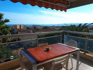 Entre Monaco  et Cannes, vue mer , piscine