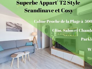 Mon Petit Chez moi - Appart T2 Style Cosy - Calme - Clim - Parking - Wifi