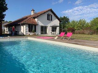 Maison familiale Landes 12 pers. piscine tout proche Océan Contis Cap de l'Homy