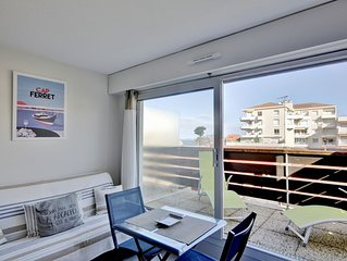 Studio cabine Arcachon + terrasse vue bassin - 100m plage et proche centre ville