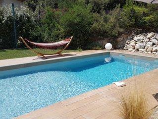 Villa 7 pers,piscine,jardin,cuisine d'été,pétanque proche Montpellier