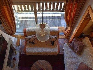 Bel Appartement 80m2 avec cheminee, vue sur Mont Blanc