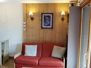 Risoul appartement T2 4 couchages Antarès départ et retour skis aux pieds
